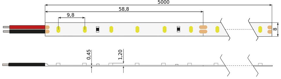 Technische Zeichnung eines Constaled WW LED-Stripes