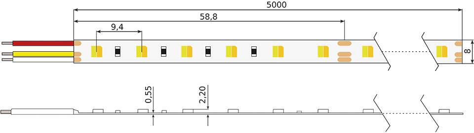 Technische Zeichnung eines Constaled Deep Tunable White LED-Stripes