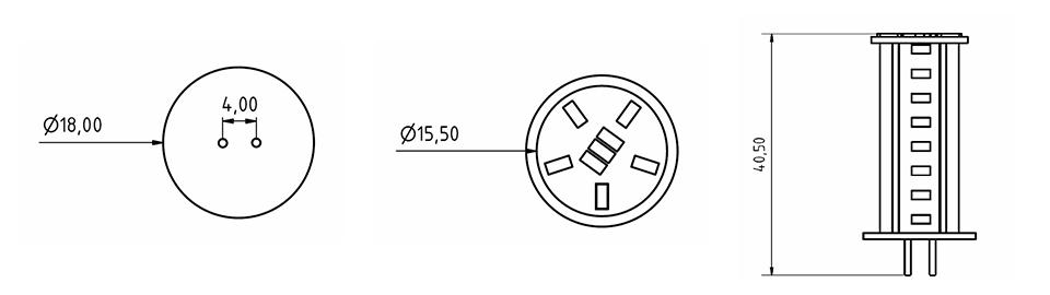 Technische Zeichnung einer Constaled G4 LED-Lampe